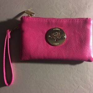 MULBERRY PINK LEATHER WRISTLET WALLET CLUTCH BAG